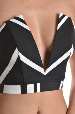 Plunging Black and White Chevron Crop Top