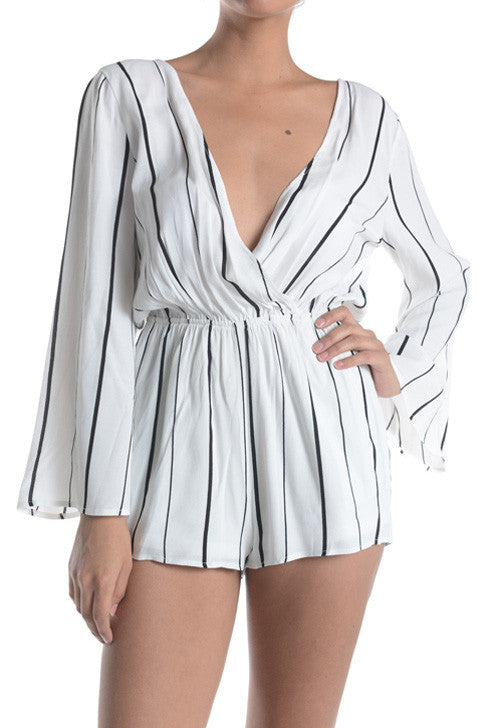 'Lilly' Striped Plunging Neckline Romper