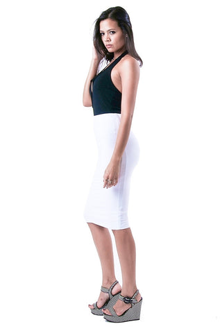 'Lust Me' White Midi Skirt