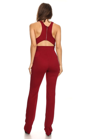 'Dare Me' Plunging Sleeveless Jumpsuit