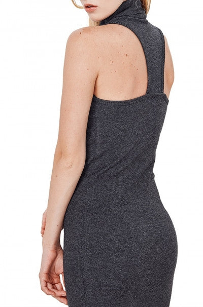 Charcoal 'Rebecca' Racerback Turtleneck Dress