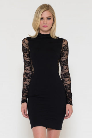 Peekaboo Lace Back Bodycon Mini