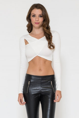 Ponti Cross Front Crop Top Ivory