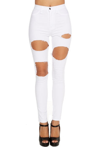 'Jessica' White Destroyed High Waist Pants