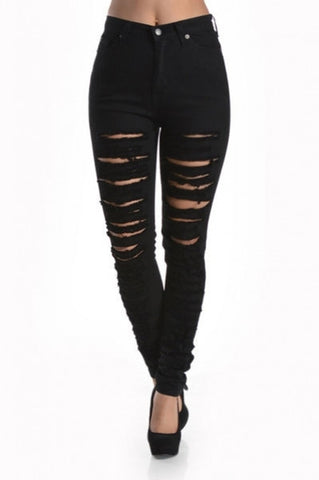 'Becky' High Waist Destroyed Skinny Jean