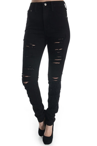 'Brittany' Destroyed Skinny Jeans Black