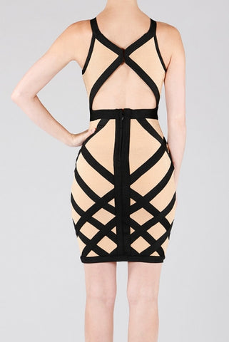 'Deep Nude' Cut-out Bandage Dress