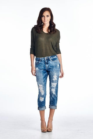 Girlfriend Vintage Wash Cropped Jeans