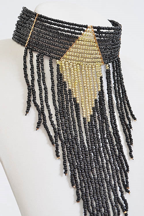 'Bold & Beaded' Fringe Choker Necklace