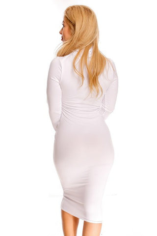 'Blow White' Turtleneck Bodycon Dress