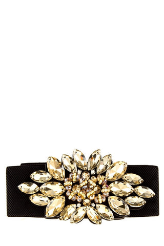 'Clutch Me In Crystals' Belt Gold