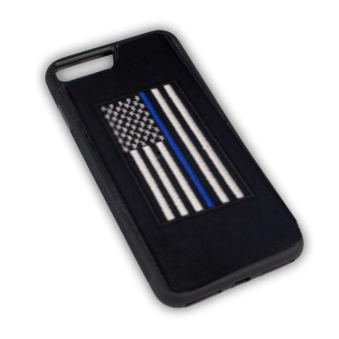 Thin Blue Line Flag - Fabric Case - iPhone 7 Plus - BLACK