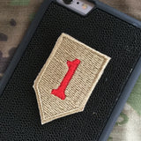 1ID Patch - Fabric Locking Module - Subdue OCP - myHonor Case tactical assault morale gear warrior america freedom milspec army navy marines air force coast guard USA usmc uscg usaf veteran service infantry combat phone case fabric patch camo multicam marpat nwu abu grunt seaman airman leatherneck