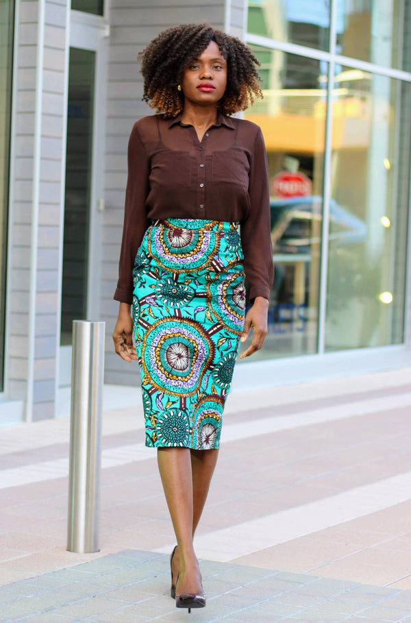 Kenny African Print Midi Pencil Skirt - Teal - Zuvaa