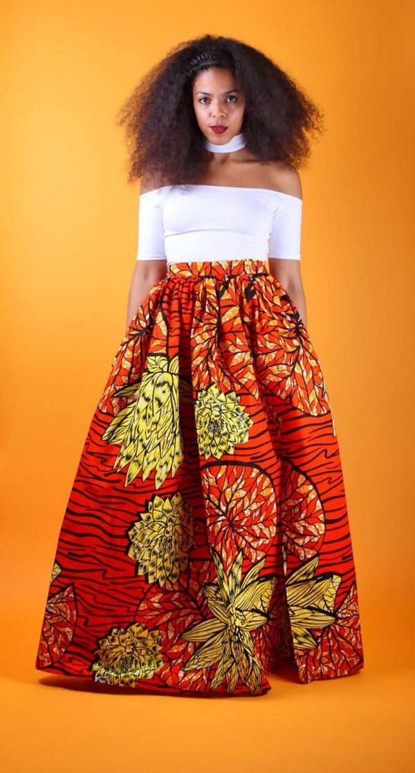 Sheri - African Ankara Wax Print Maxi Skirt With Head Tie Option - Zuvaa