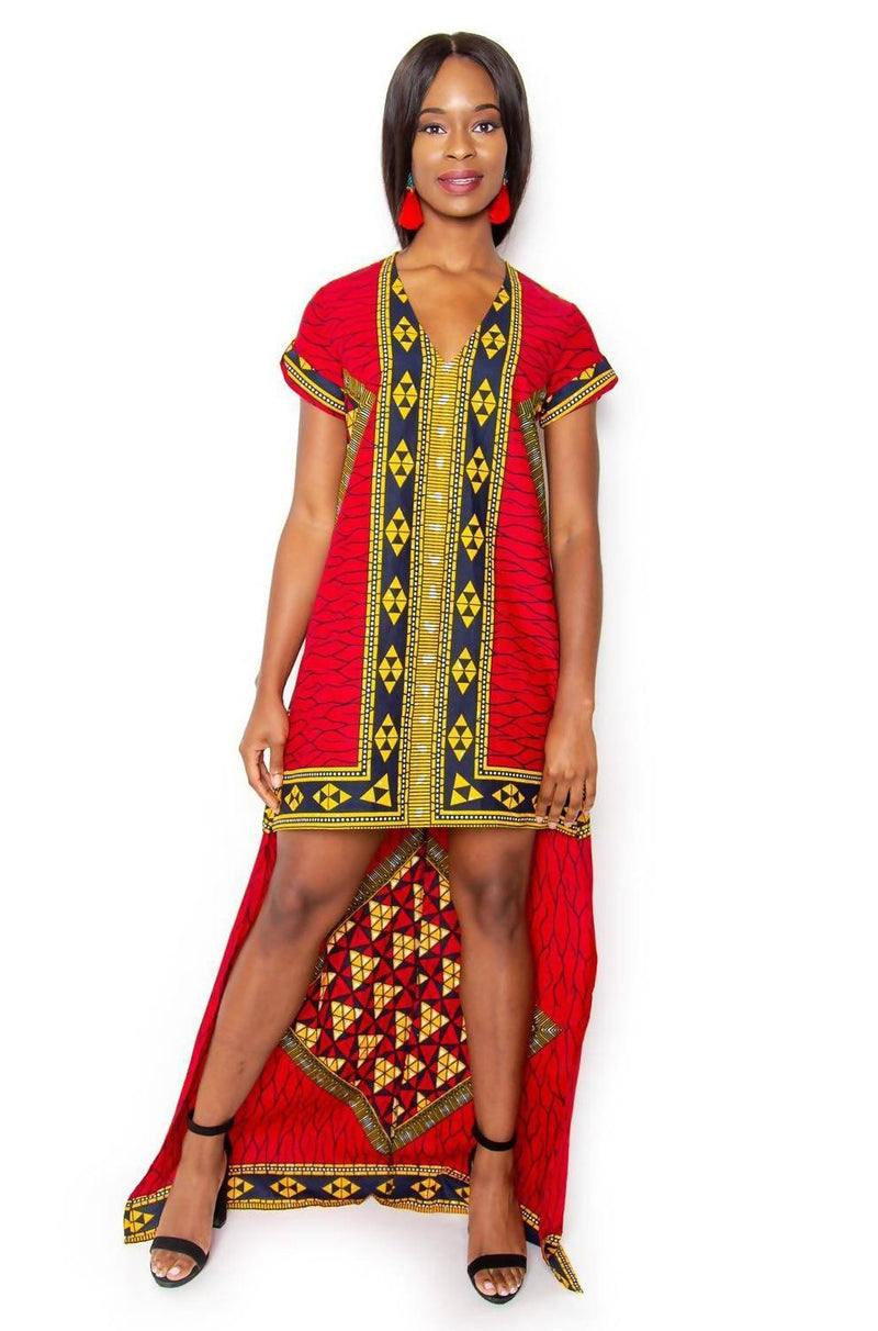 Hawa High Low Top/Dress - Red - Zuvaa