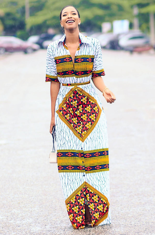 THANDO AFRICAN PRINT SHIRT DRESS - Zuvaa