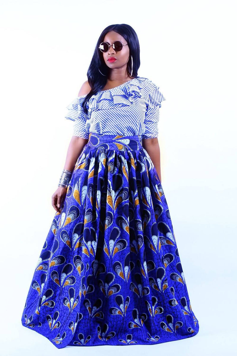 JESSIE - African Ankara Wax Print Maxi Skirt With Head Tie Option - Zuvaa