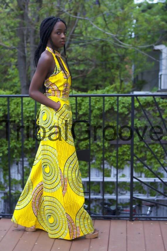 Yellow African Ankara Wax Print Wide Leg Jumpsuit - Zuvaa