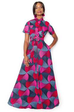 Adaku Button Down Maxi Shirt Dress - Red and pink - Zuvaa