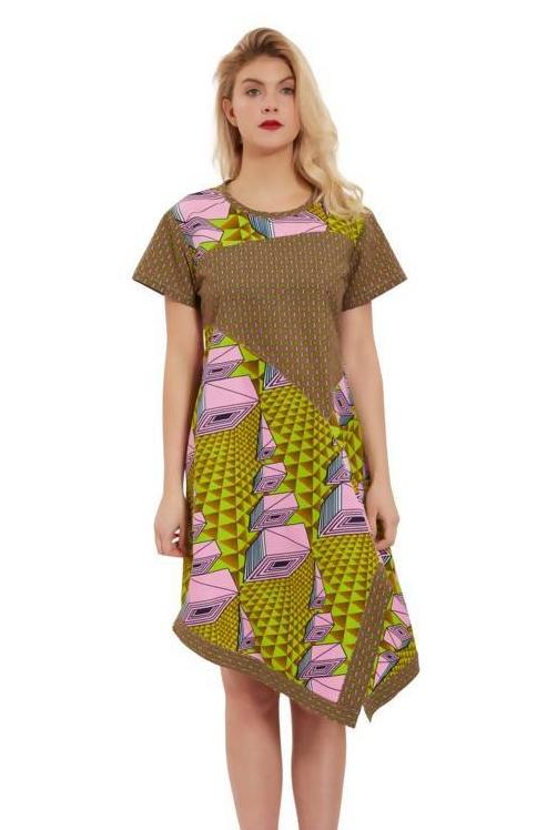 ASYMMETRICAL PATCHWORK DRESS - Zuvaa