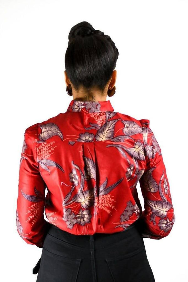 ASIA - African RED Flora Wax Print Bow Short - Zuvaa