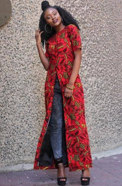 African Print Ankara Wax Print Long Slit Top - Zuvaa