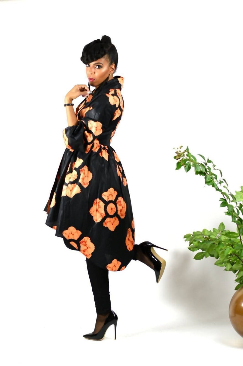 Black Ankara African Wax Print Wrap Dress - Zuvaa