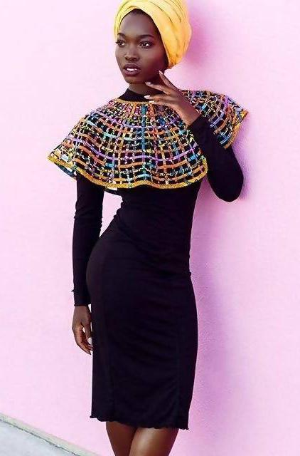 Ankara Laced Cape Medium - Zuvaa