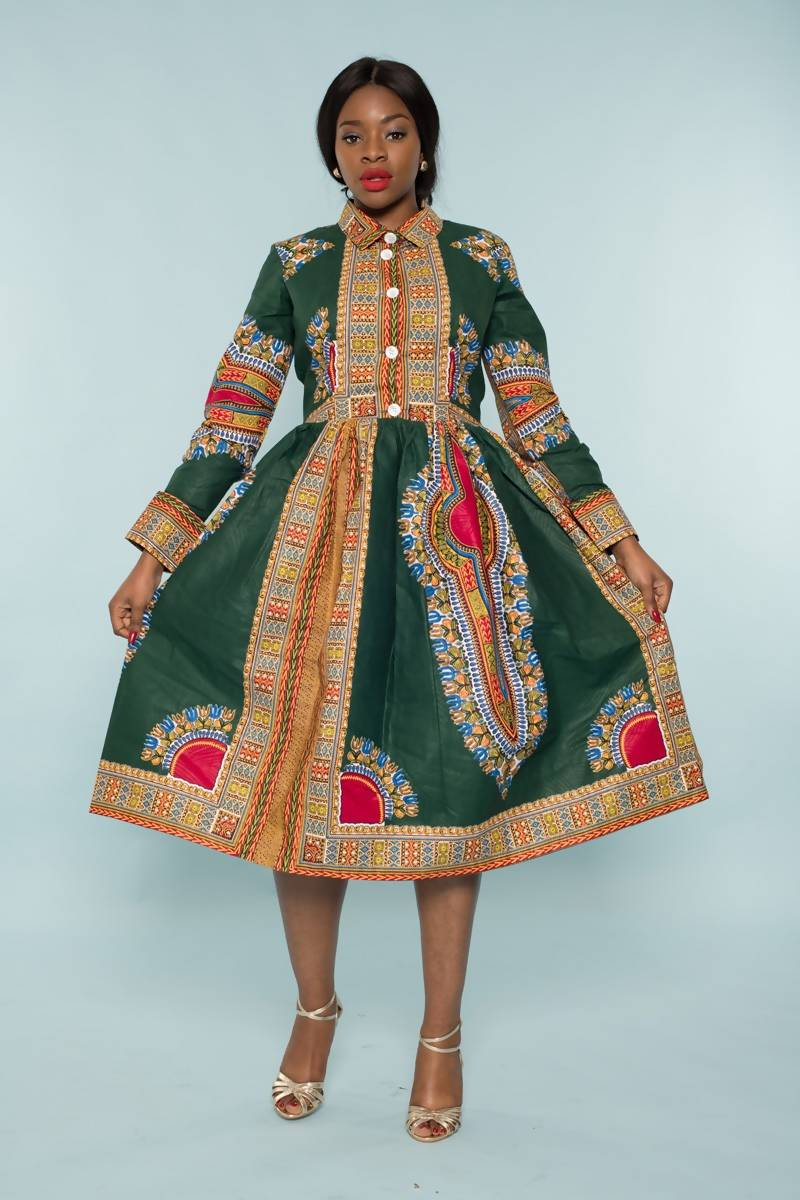 Green Dashiki Midi Dress - Zuvaa