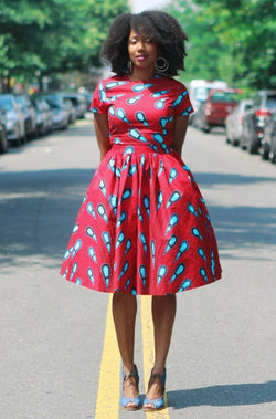 REIN - African Print Midi Skirt and Top Set - Zuvaa