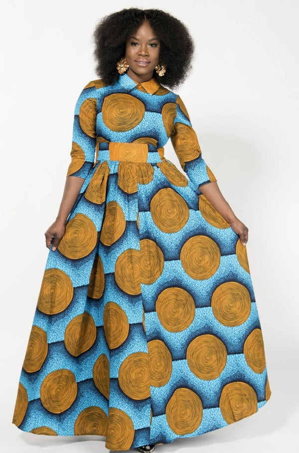 BLUE-VINTAGE MAXI DRESS - Zuvaa