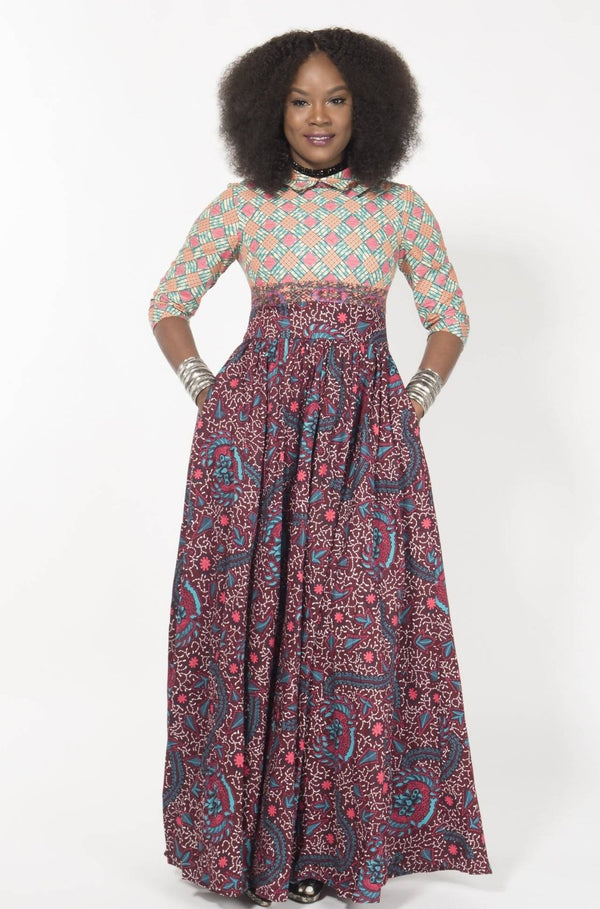 ROSE-VINTAGE MAXI DRESS - Zuvaa