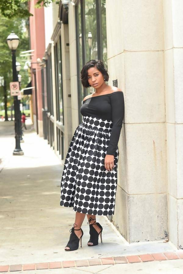THE 'SHANNON' POLKA DOT TEA-LENGTH SKIRT - Zuvaa