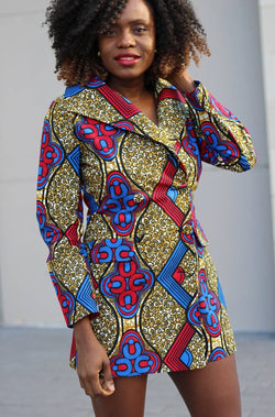 Dami Double-Breasted Mini African Print Dress/Jacket - Zuvaa