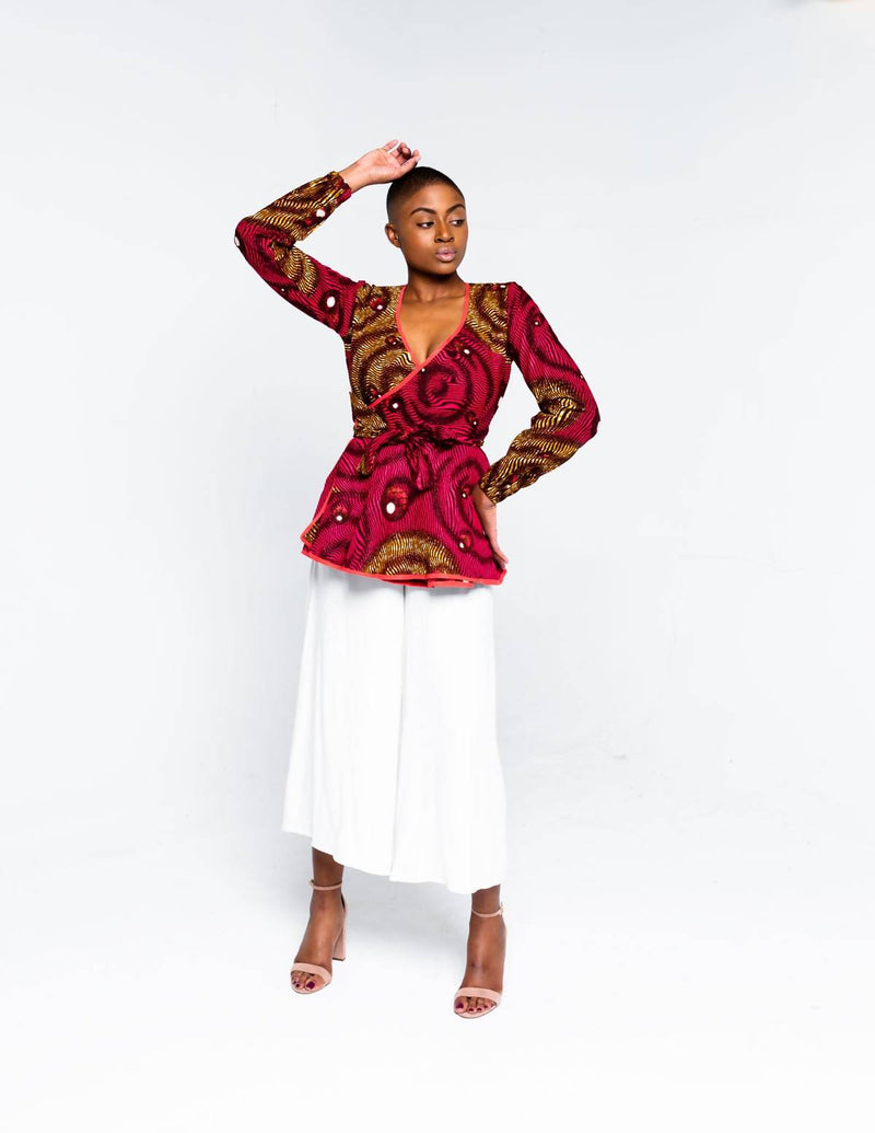 The Swirl Wrap Blouse - Zuvaa