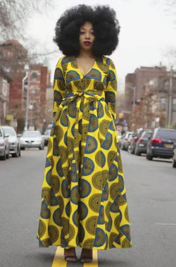 Angelitos Negros - Part I - Yellow African Ankara Wax Print Dress - Zuvaa