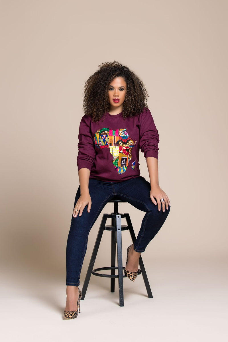 BURGUNDY AFRICAN MAP SWEATSHIRT - Zuvaa
