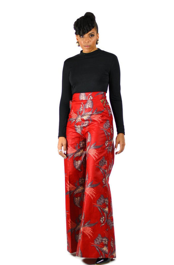 Asia - Palazzo African Print Wide Leg Pants - Zuvaa