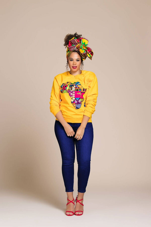 YELLOW AFRICAN MAP SWEATSHIRT