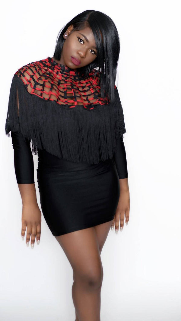 Ankara Laced Cape With Fringe - Zuvaa