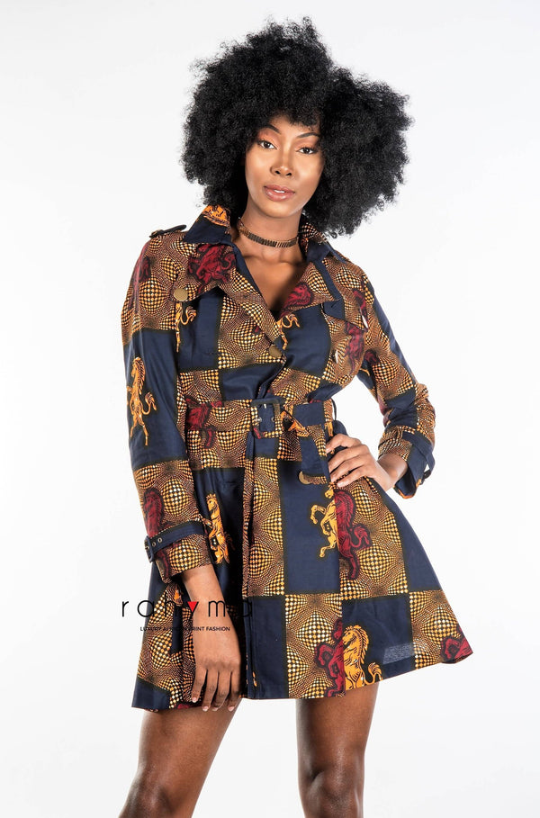 Rahyma Horse Trench Coat Dress - Zuvaa