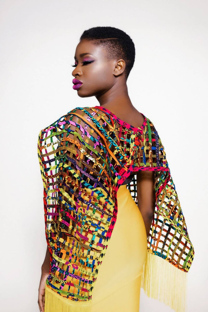 Mebolife laced Ankara convertible Cape/Top - Zuvaa