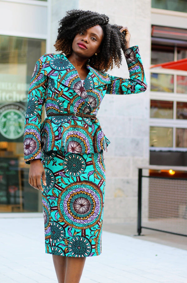 Lizzy Oversized Collar African Print Jacket - Teal - Zuvaa