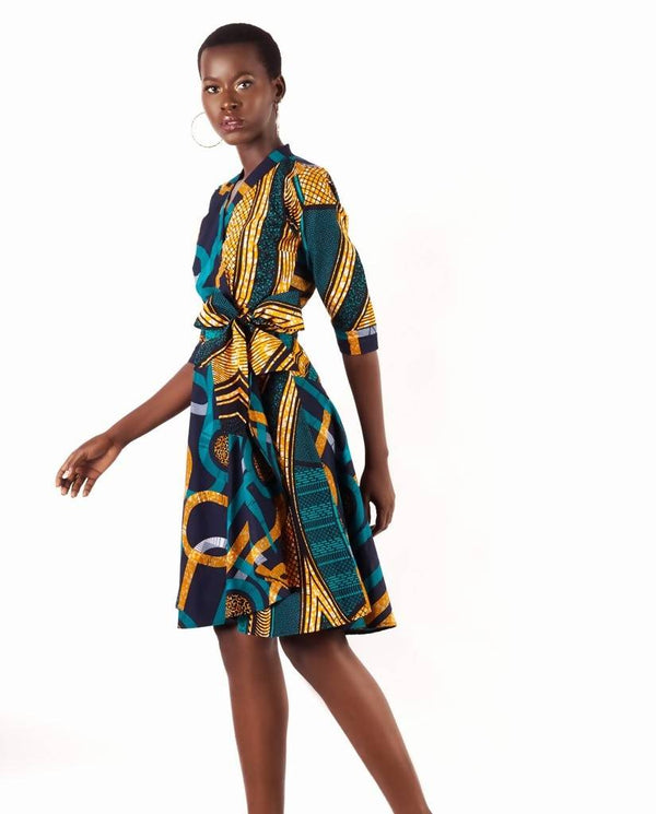 MULTI-PRINT WRAP DRESS - Zuvaa