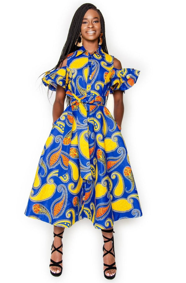 Ajoke Button Down Midi Dress - Blue & Yellow - Zuvaa