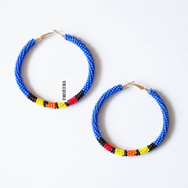 Zora Hoop Earrings - Blue - Zuvaa