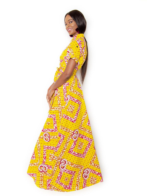 Adaku Button Down Maxi Shirt Dress - Yellow - Zuvaa