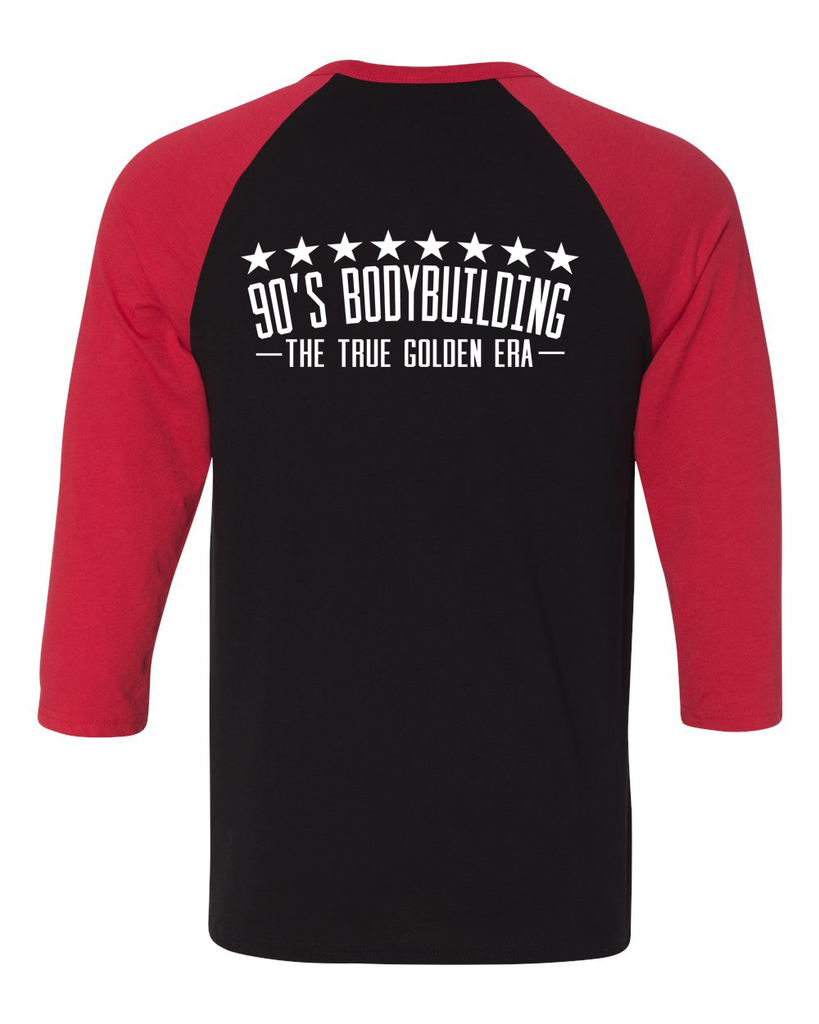 90's Bodybuilding Baseball T-shirt Black/Red/White (Unisex) - Swole Athletics