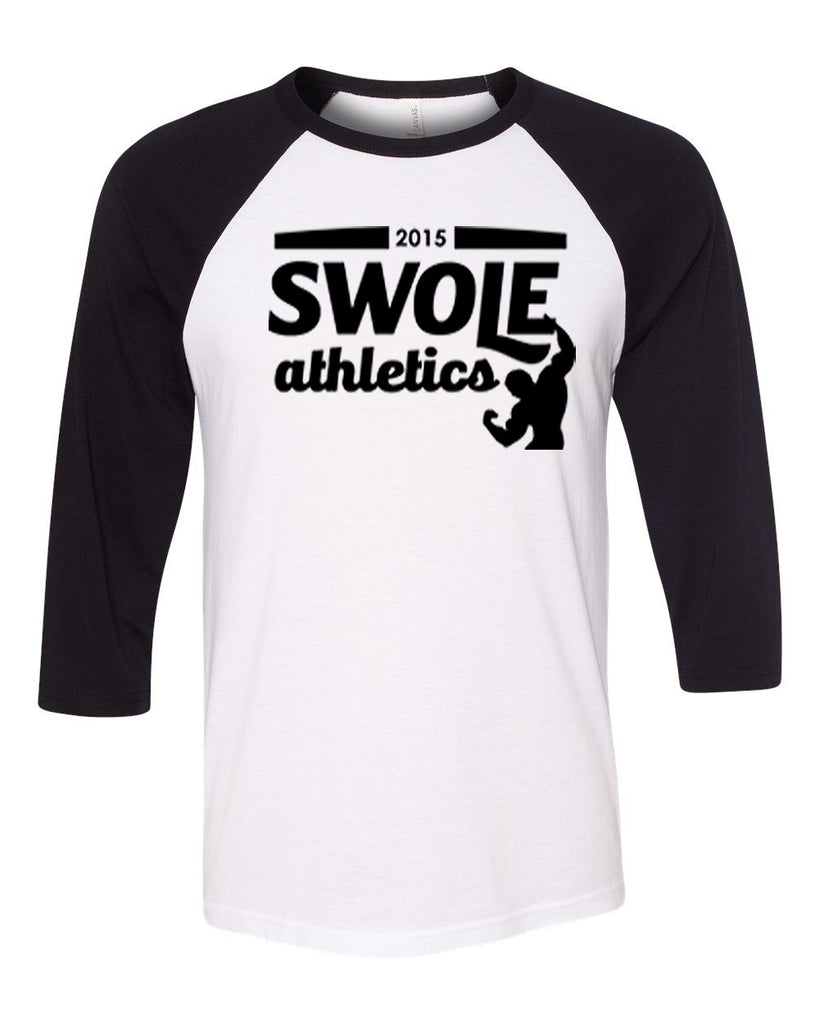 Swole Athletics Baseball T-shirt White/Black (Unisex) - Swole Athletics